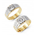 14k Two Tone Rippled Gold Cubic Zirconium Wedding Set