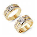 14k White Yellow Gold Channel Round CZ Wedding Ring Set