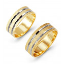 14k Yellow White Double Row Etched Wedding Band Set