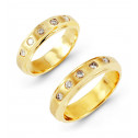 14k Yellow Gold 0.35 Ct Round Diamond Wedding Band Set