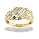 New 10k Yellow White Gold .22ct Diamond Swirl Band Ring