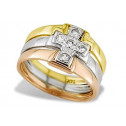 14k Yellow White Rose Gold Cross CZ Women's Band Ring