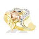 Women's 14k Tri Color Gold Cut Out Rose Flowers Ring
