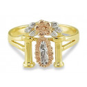 14k White Yellow Rose Gold Religious Mary Flower Ring