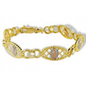 14k White Solid Rose Gold Virgin Mary CZ Links Bracelet